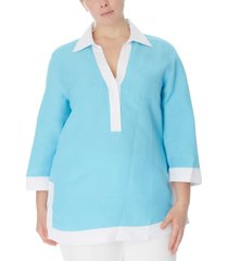 anne klein plus size colorblocked tunic