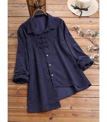 camicetta vintage asimmetrica a maniche lunghe in velluto a coste tinta unita