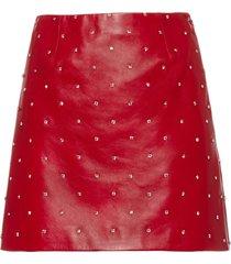 miu miu crystal embellished leather skirt - red
