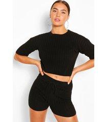 geribbelde top en shorts set, zwart