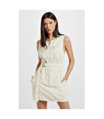 vestido curto de cupro cinto fivela white aspargus - 40