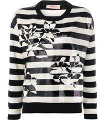 twin-set suéter com listras e paetês - preto