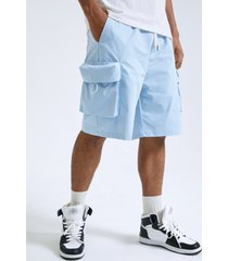 shorts cargo de cintura con cordón de bolsillo grande liso para hombre