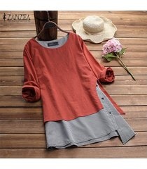 zanzea mujeres cuello redondo suéter superior tee camisa de tela escocesa check plus tamaño túnica de la blusa -naranja