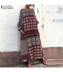 zanzea s-5xl floral de las mujeres batwing ocasional de la manga larga floja camisa del traje del vestido maxi kaftan -rojo
