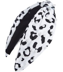 tasha pearly leopard knot headband in white at nordstrom