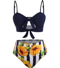 knots sunflower striped cutout ribbed tankini swimwear