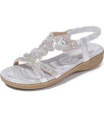 sandalias rhinestone estampadas para mujer-plata