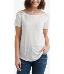 lucky brand eyelet scoop-back t-shirt