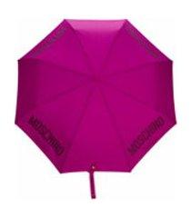 moschino guarda-chuva com estampa de logo - rosa
