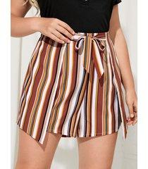 yoins plus talla rayas tie-up diseño shorts