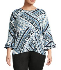 bell-sleeve print top
