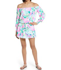 women's lilly pulitzer lana long sleeve off the shoulder romper, size x-small - pink