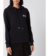 maison kitsuné women's double fox head patch hoodie - black - xl