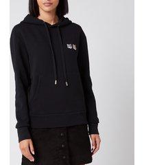 maison kitsuné women's double fox head patch hoodie - black - xxl