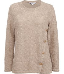 sweater tentation botones beige - calce regular