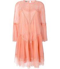 alberta ferretti lace panel dress - orange