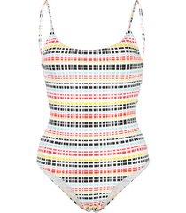 onia gabriella ribbon stripe swimsuit - white