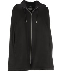 saint laurent longue duffle cape hoodie/sheerling zip