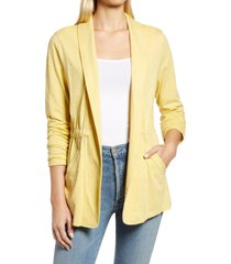 caslon(r) cinch waist knit jacket, size large in yellow citron at nordstrom