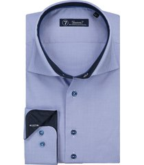 sleeve7 overhemd blauw pied de poule