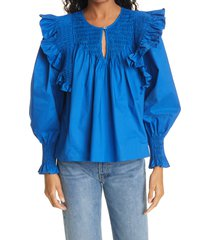 women's sea varsha ruffle cotton blouse, size x-small - blue