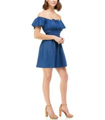 rosie harlow juniors' cotton chambray on & off shoulder dress