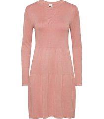 vibolonsia knit l/s dress tb knälång klänning rosa vila
