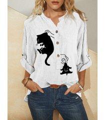 camicetta a maniche lunghe con colletto alla coreana con bottoni con stampa animale dei cartoni animati