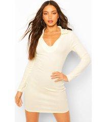 tall long sleeve collared mini dress, ecru