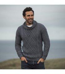 mens atlantic blue aran sweater large