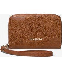 floral coin wallet zipper - brown - u
