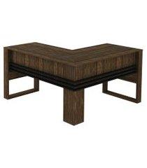 mesa angular nogal/preto tecno mobili
