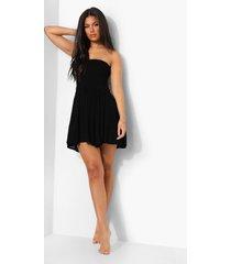 geplooide geweven strand jurk, black