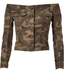 off-the-shoulder camouflage jacket