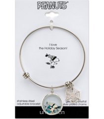 "peanuts skating ""snoopy"" crystal shaker adjustable bangle bracelet in stainless steel"