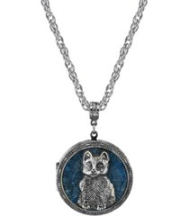 2028 pewter cat locket with blue enamel necklace 30""