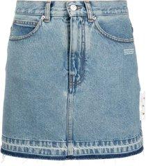 off-white light blue cotton denim skirt