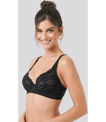 na-kd lingerie flower lace cup bra - black
