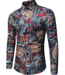 manica lunga sottile fit turn down collar dragonfly printing camicia per uomo