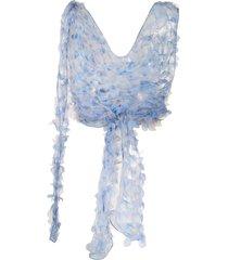 maison margiela cowl neck wraparound top - blue