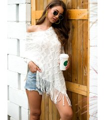 white one shoulder tassel cape coat