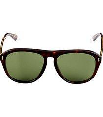 52mm faux tortoiseshell aviator sunglasses