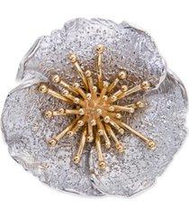 giani bernini two-tone hibiscus flower statement ring, created for macy's