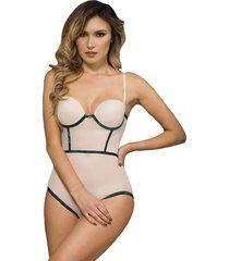 body para mujer - en malla tex piel - verde - lussuria - jaspe - ref: 121