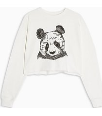 cream panda cropped sweatshirt - cream