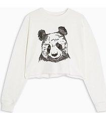 cream panda cropped sweatshirt - cream