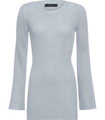 blusa feminina tricot manga sino - prata