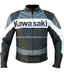 men mens kawasaki grey black cowhide leather motorcycle motorbike biker jacket