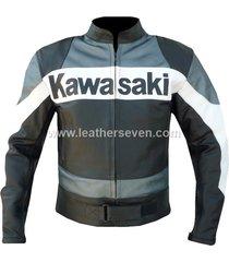 men mens kawasaki grey black cowhide leather motorcycle motorbike biker jacket